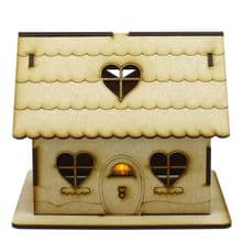 Gingerbread House Tealight Holder 9.5cm or 15cm Wood Candy Treasure Gift Box Set